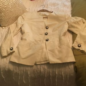 Christian Dior white blazer with pearl detail sz 6